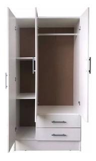 Ropero Placard 3 Puertas 2 C Interior 100% Melamina Blanca @
