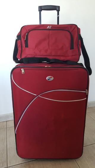 Valija American Tourister Lona 70 X 48 X 27 Cm. Con Bolso
