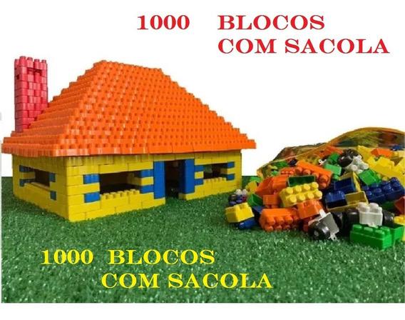 Blocos De Montar Brinquedo Educatico Com Sacola E1000 Peças