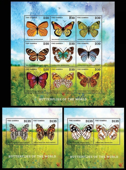 Fauna - Mariposas - Gambia - Hojita + 2 Blocks Mint