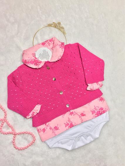 Body Camisa Menina + Cardigan Tricô