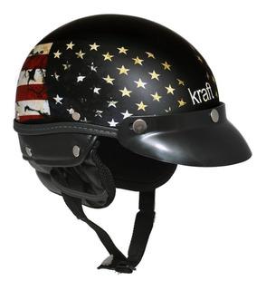 Capacete Coquinho Kraft Sport Couro Preto Desenho Usa Harley