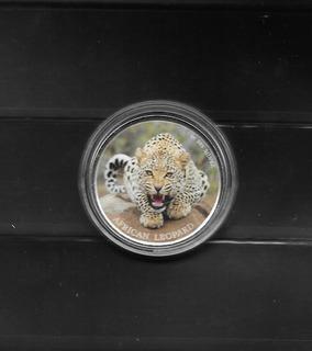 Moneda De Plata 1 Oz Leopardo Digitalmente Colorizada