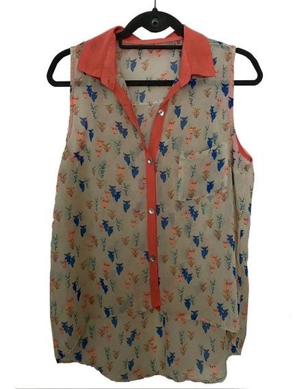 Blusa Camisola Beige Con Lechucitas Y Naranja Fuerte S/ Logo
