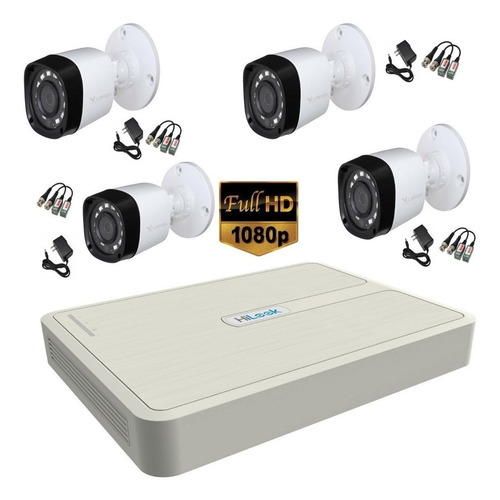 Kit Hikvision Hilook Dvr 1080 4 Ch + 4 Cámaras + 50 Mt Cable