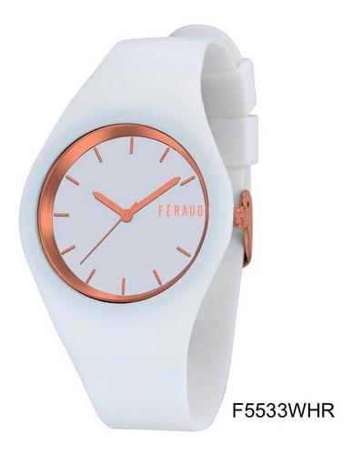 Imagen 1 de 3 de Reloj Feraud F5533whr Mujer Silicona Blanco Y Dorado