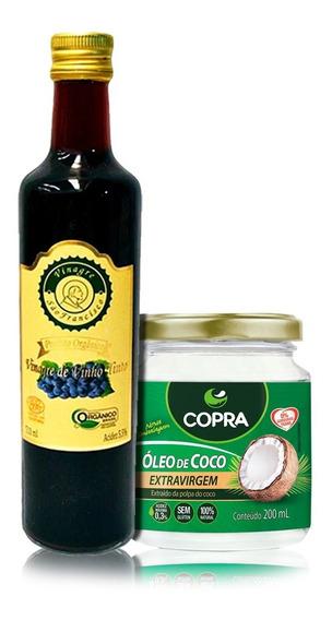 Vinagre Orgânico 500ml + Óleo De Coco Extra Virgem 200ml