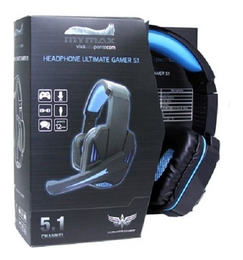 Headphone Gamer Usb 2.4m Cabo Nylon Preto/azul