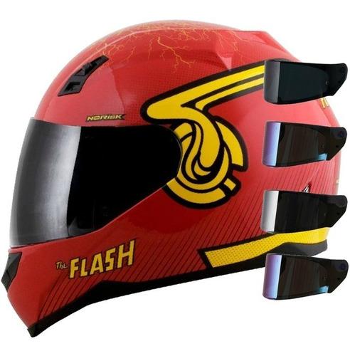 Imagem 1 de 7 de Capacete Norisk Ff391 Flash Hero Ou Symbol Vermelho +viseira