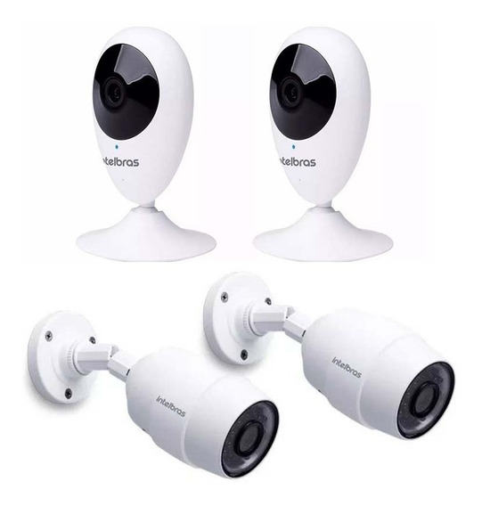 Kit 4 Câmeras De Segurança Wi-fi Hd Ic5 E Ic3 Intelbras