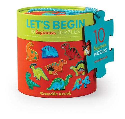Puzzle 10 Rompecabezas De Dinosaurios De 2 Piezas C/u Crocod