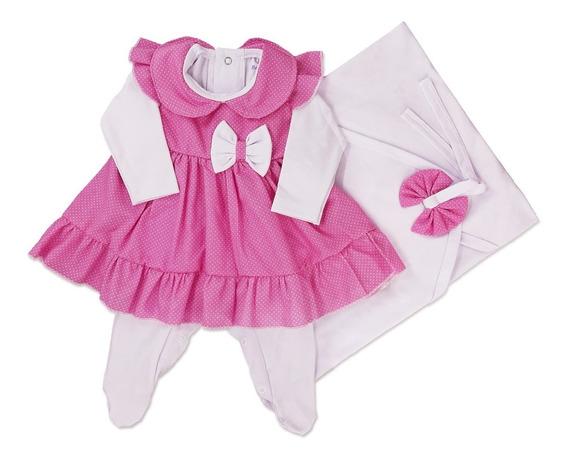 Saida Maternidade 3 Peças Poá Rosa Vestido 100%algodão Full!
