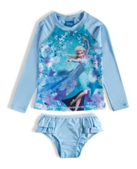 Conjunto Praia Frozen Azul Disney
