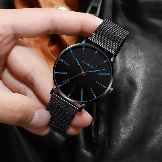 Cuena Homens Relógios Quartz Dial Aço Inoxidável Pulseira Ca