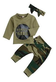 Menor Estrella Bebé Niñas Camuflaje Impreso T - Camisa Y Lar