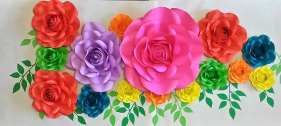 Set De 18 Flores Gigantes De Papel