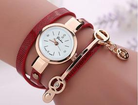 Relógios Feminino Pulseira Em Couro Retro Vintage Vermelho