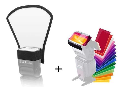 Flash Speedlite Difusor Reflector Y 12 Piezas Filtro Color