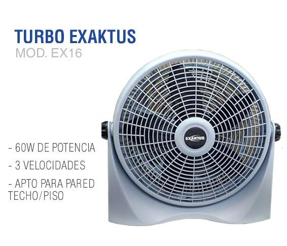 Ventilador Turbo Piso Pared Exaktus Ex16 Silencioso 60w
