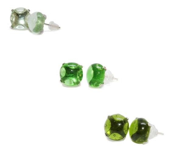 Juego 3 Broqueles Vidrio Reciclado De Botella-plata, Verdes