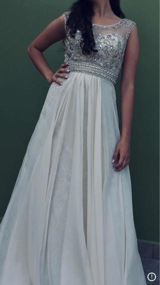 Vestido De Fiesta Color Beige Con Piedras (largo)