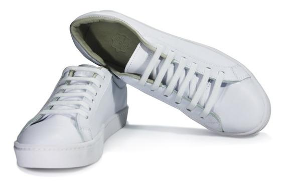 Zapatillas Justicialistas Cooke Cuero Blancas -cosidas-