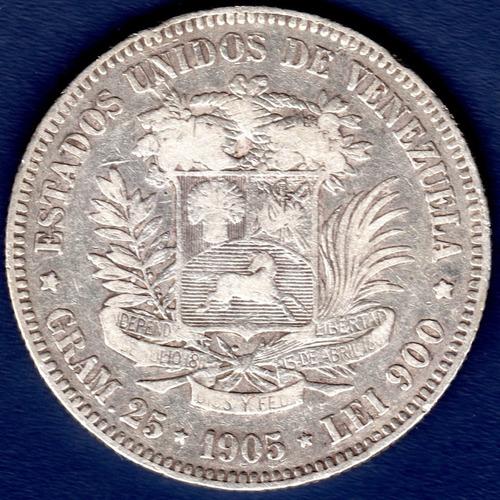 Moneda De Plata De 5 Bolívares De 1905 Fuerte