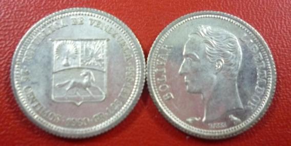 Venezuela Moneda De Plata Au 25 Centimos 1960 Km-35a