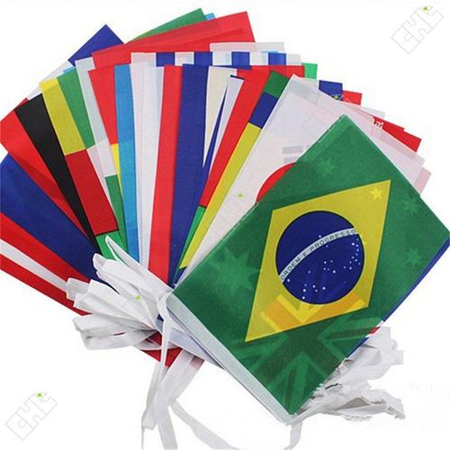 Kit Varal Bandeiras Bandeirinhas 32 Países 14x21cm