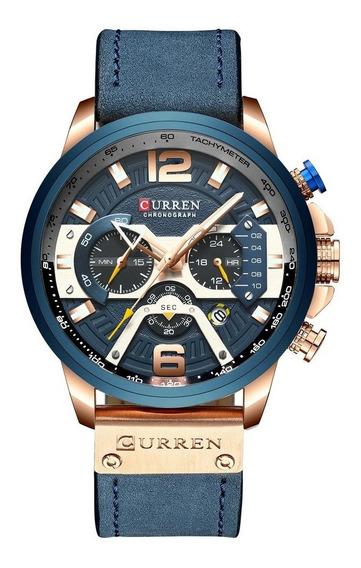 Curren (azul) Mens Watch Business Cronógrafo Relógio De Qu