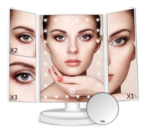 Espejo Con Luz Led Triptico P/ Maquillaje Color Blanco E152