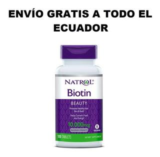 Biotina Natrol 10000mcg 100 Tabletas Para Barba, Cabello