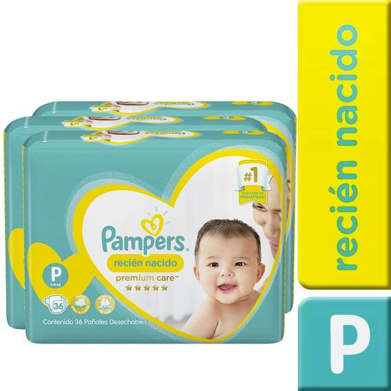 3 Paquete Pañales Pampers Premium Care 108 Unidades Talla P