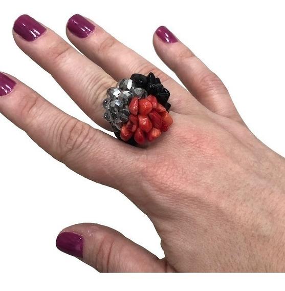 Anel Com Pedra Natural Feminino Coral + Ônix + Vidro Grande