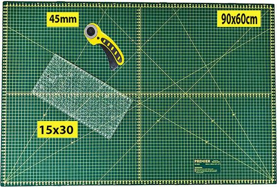 Base Corte A1 90x60 Régua Laser 15x30 + Cortador Patchwork