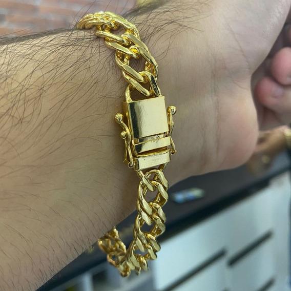 Pulseira Lacraia 11mm Com Fecho Duplo Banhado A Ouro 18k