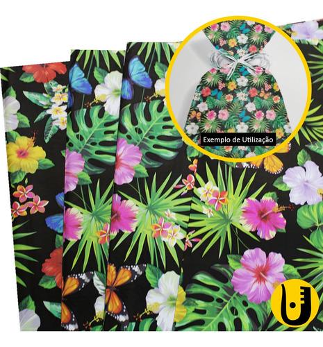 Sacos Para Presente Embrulho 35x59 Estampado Tropical Com 50