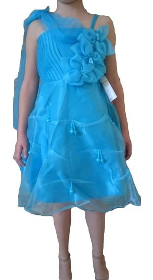 Vestido Infantil Festa Flores Azul Elsa Cinderela Tam 4 Ou 8