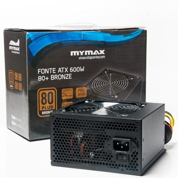 Fonte Mymax 600w 80 Plus Bronze Pfc Gamer Bivolt Automático