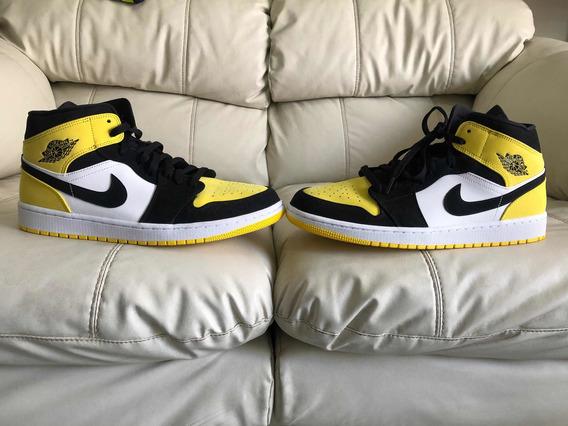 Tenis Air Jordan Retro 1 Mid Yellow Toe Black Del 31mx