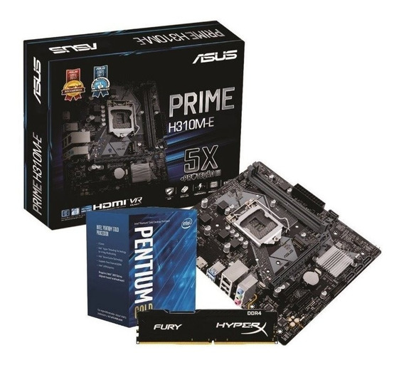 Kit Compelto Pentium G5400 Asus Prime H310m 4gb Ddr4 Fonte 450w Real Hd 240gb Ssd Kingston