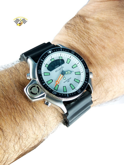 Relógio Masculino Atlantis G3220 Aqualand Jp2000 Branco Borr