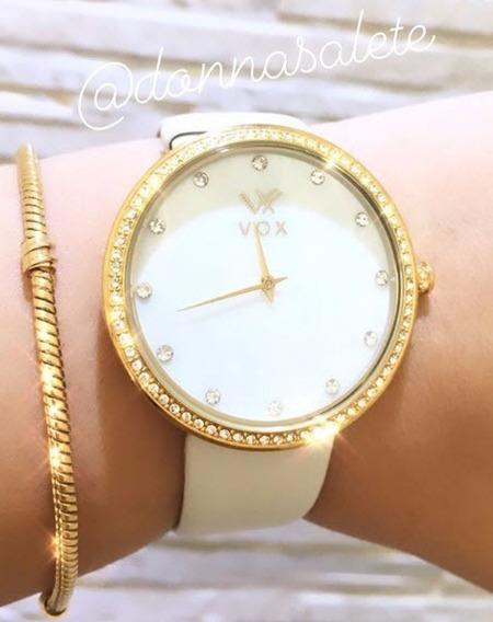 Relógio Vox Branco Com Detalhes Em Zirconia Promoção