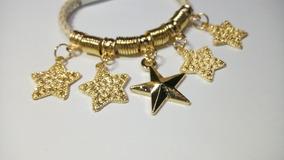 Linda Pulseira Couro Trançado Com Estrelas Douradas