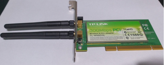 Adaptador Tp Link Inalámbrico Pci N 300mbps Tl Wn851nd