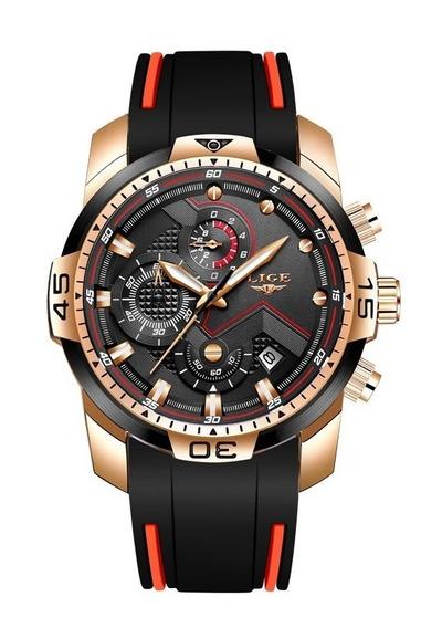 Relógio Masculino Lige Quartzo Luxo Original Esportivo Top