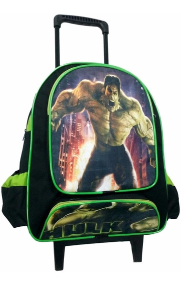 Mochila Escolar Infantil Incrivel Hulk Com Rodinhas Tam G