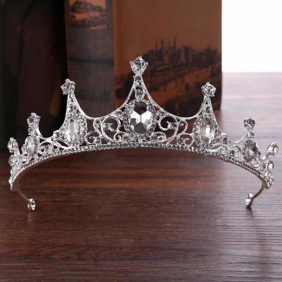 Tiara Corona Para Novia O Quinceañera Princesa Plateada