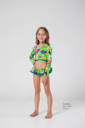 Biquini Kids Cropped + Calcinha Siri - 92232088 Flamingo