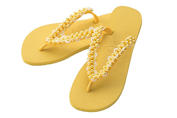 Chinelo Havaianas Top Customizado Com Pérolas Ref 009